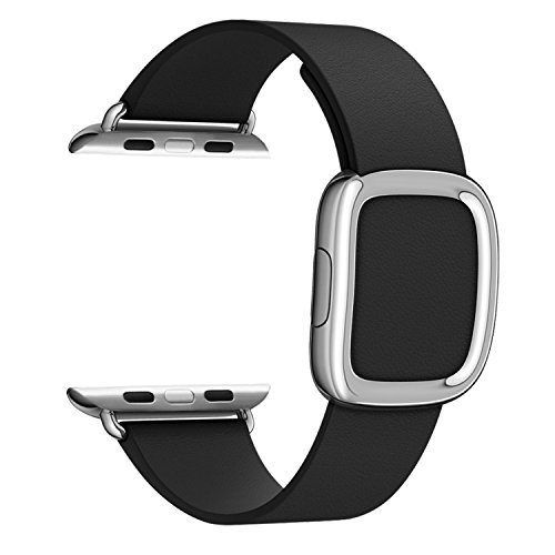 Correa de cuero con hebilla moderna para Apple Watch