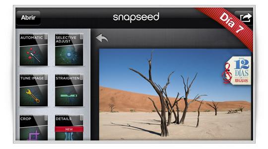 12 días de regalos: SnapSeed, la App del año en iPad