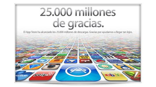 El App Store alcanza los 25.000 millones de descargas.