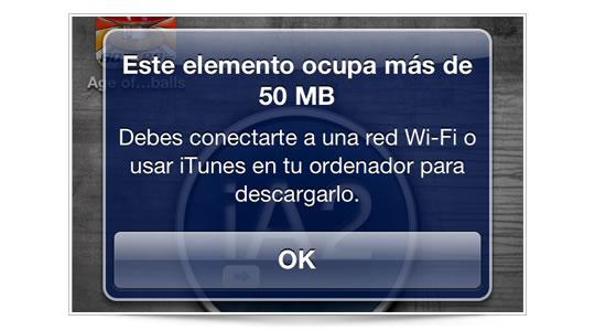 50 MB de límite por 3G