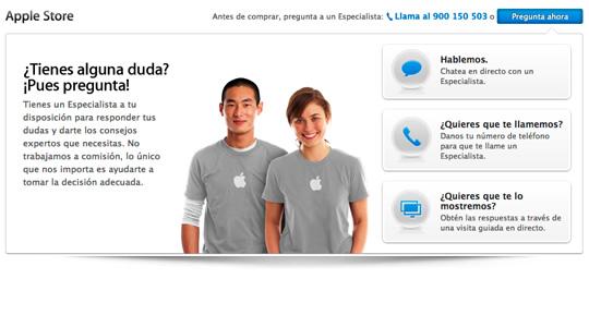 """Nuevo servicio """"Pregunta ahora"""" del Apple online Store"""