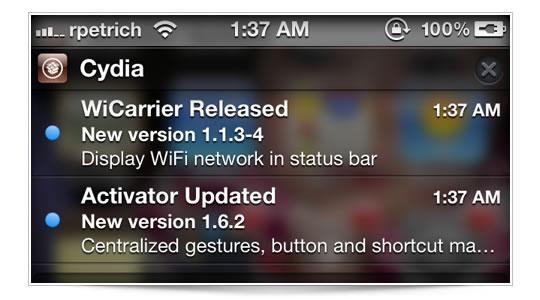 Curiosa: actualizaciones de Cydia en el NC
