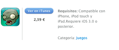 itunes Plants vs Zombies