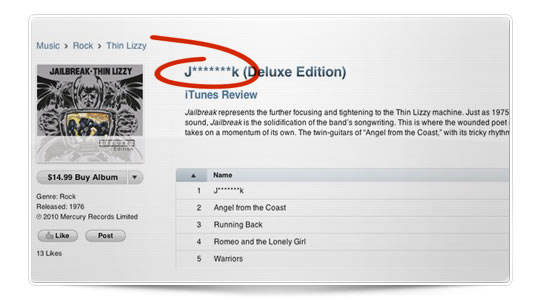 Apple elimina la palabra Jailbreak de iTunes en USA
