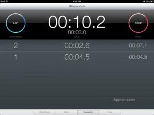 Reloj iPad iOS 6 - cronómetro