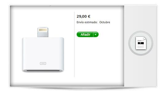 El adaptador Lightning del nuevo iPhone 5 costará 29€. Se han pasado…