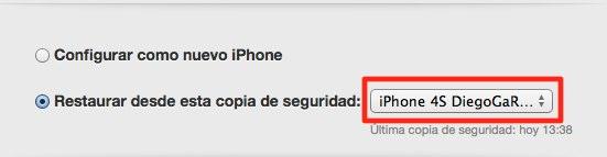 Elección copia de seguridad iTunes