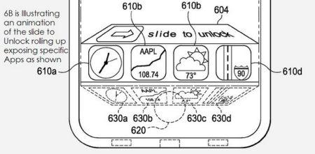 patente apple ios 7 iphone 5s, acceso directo a aplicaciones desde la pantalla de bloqueo
