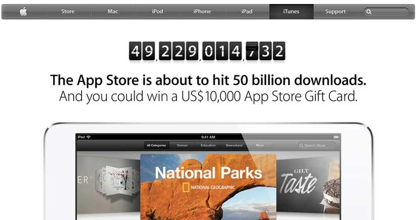 Apple celebrará las 50 mil millones de descargas en la App Store tirando de chequera…