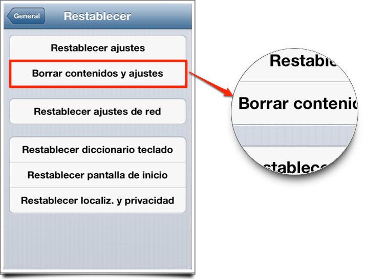 Restablecerborrar-contenido iPhone