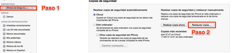 Como recuperar copia seguridad iphone