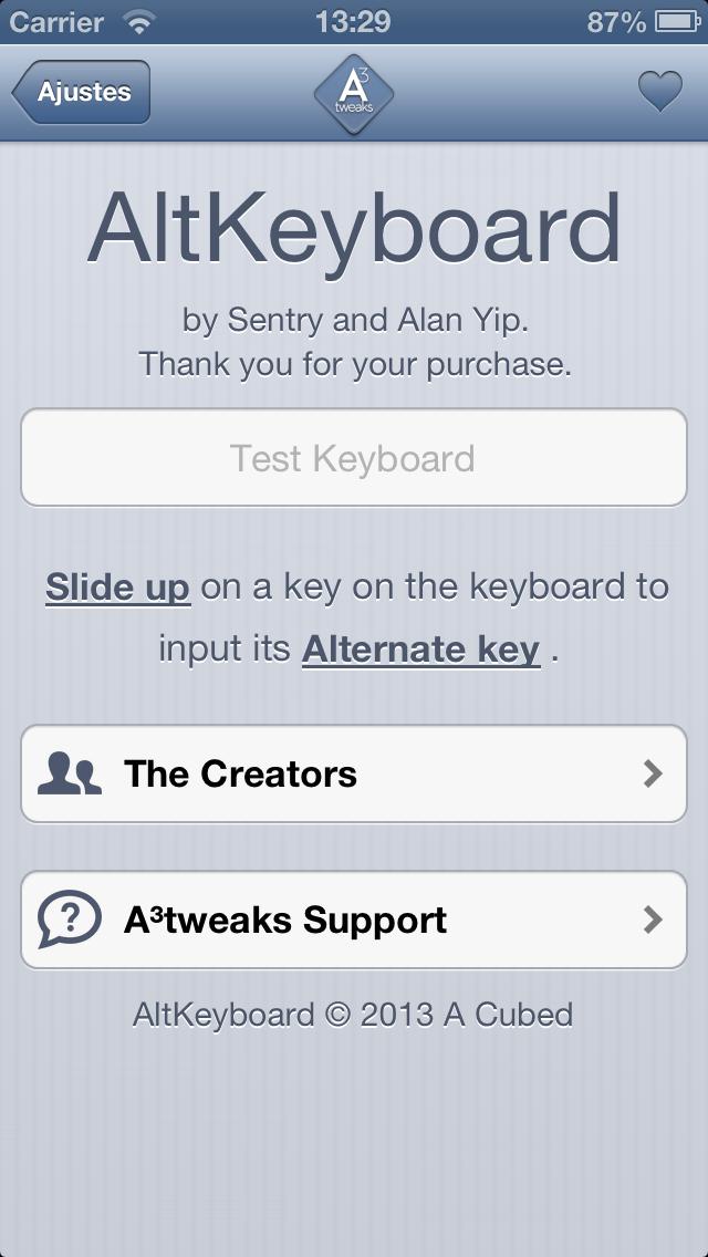 AltKeyboard preferences
