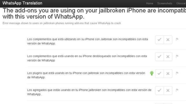 The Add-ons you are using on your jailbroken iPhone are incompatible with this version of whatsApp