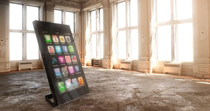 Un iPhone con pantalla de 60 pulgadas para reirse del Galaxy Note…