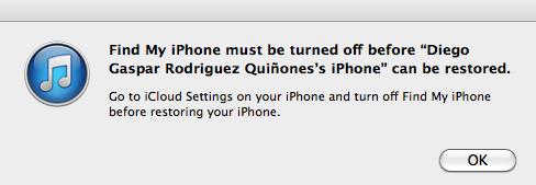 Apagar buscar mi iPhone antes de restaurar