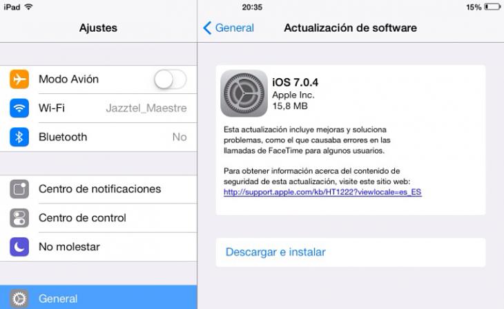 Apple lanza iOS 7.0.4 para solucionar algunos errores con FaceTime