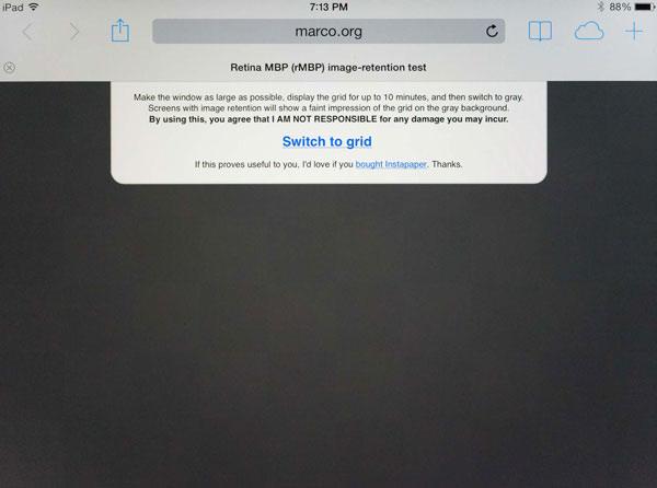 retención de imagen iPad Mini retina
