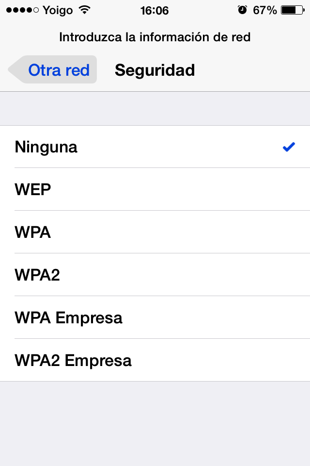tipo seguridad wifi iphone