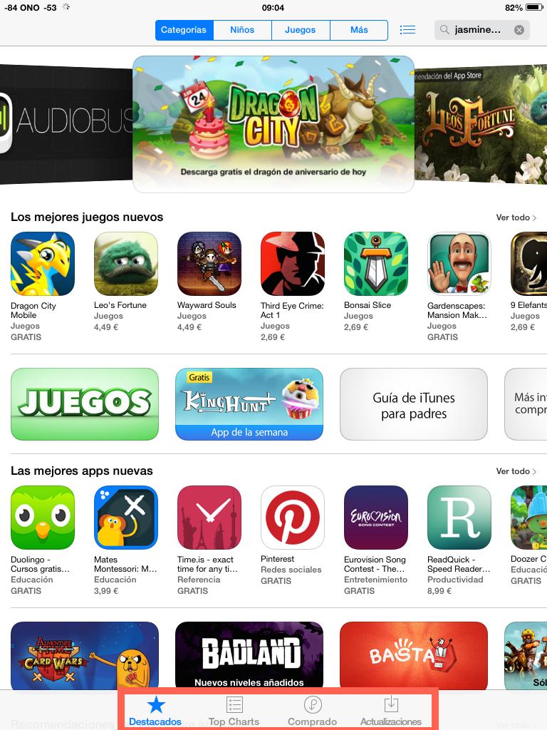 pestaña cerca App Store