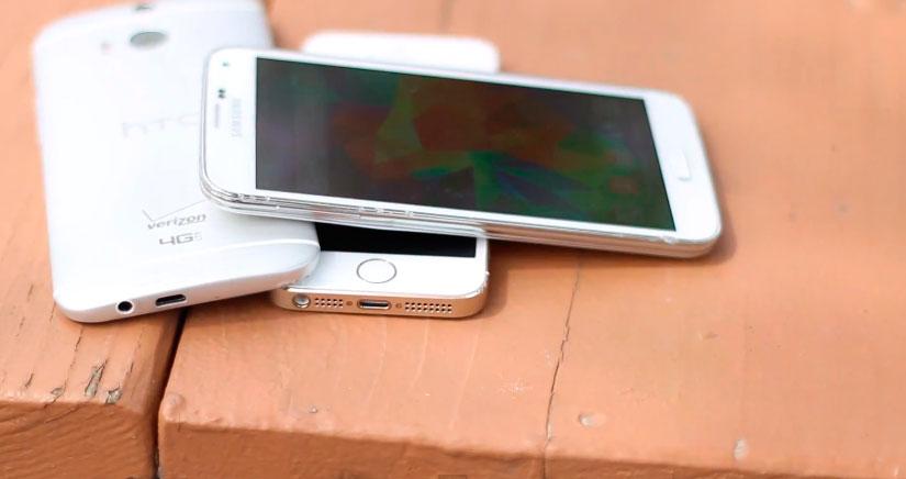 HTC One (M8) Vs Galaxy S5 Vs iPhone 5S, ¿Cual es el más resistente?, míralo….