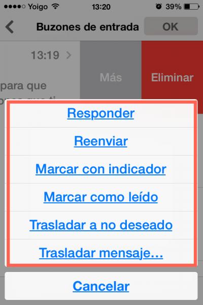 opciones mail iphone ipad