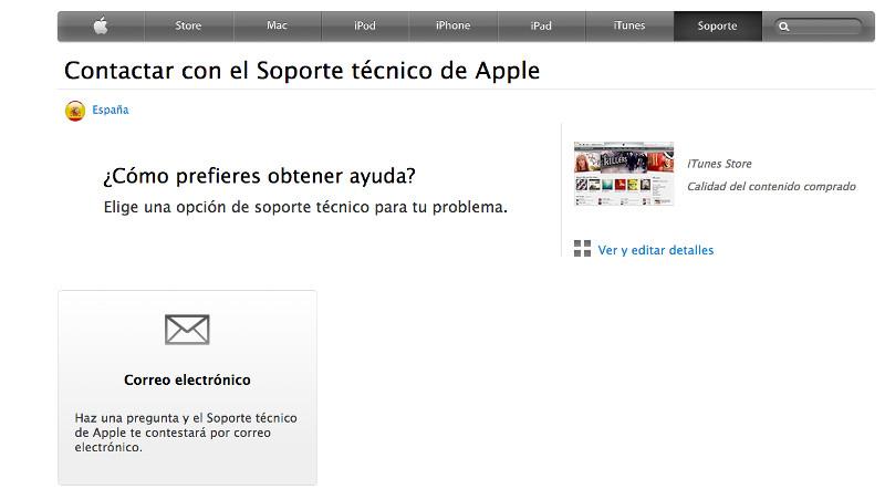 rellenar formulario soporte tecnico apple