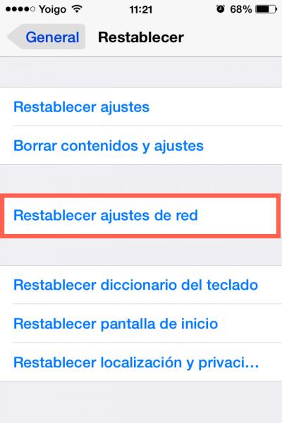 Restablecer ajustes de red