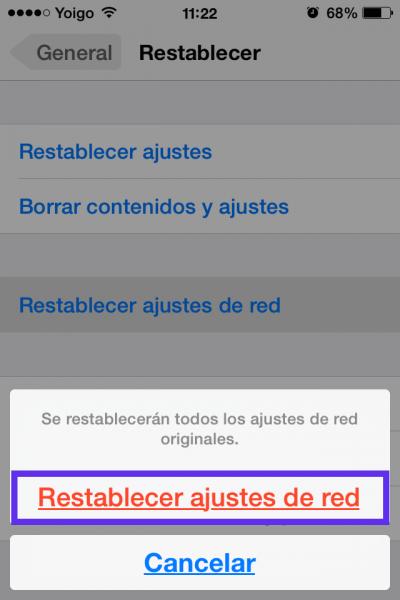 en rojo restablecer ajustes red