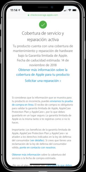 Comprobar garantia iPhone