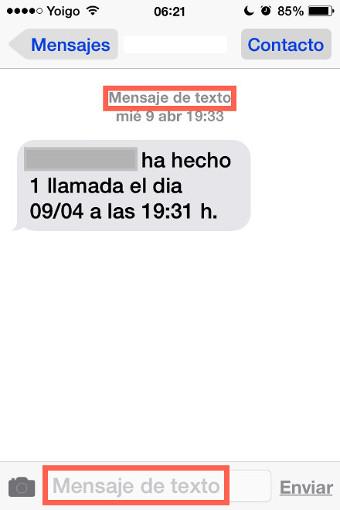 mensaje texto