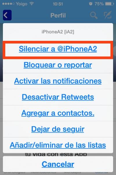 silenciar iphonea2 twitter