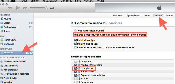 sincronizar lista itunes