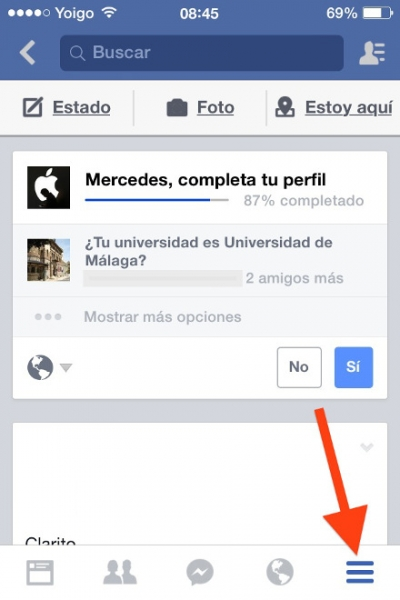 opciones facebook iphone
