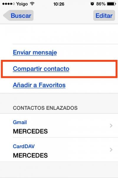 compartir contacto