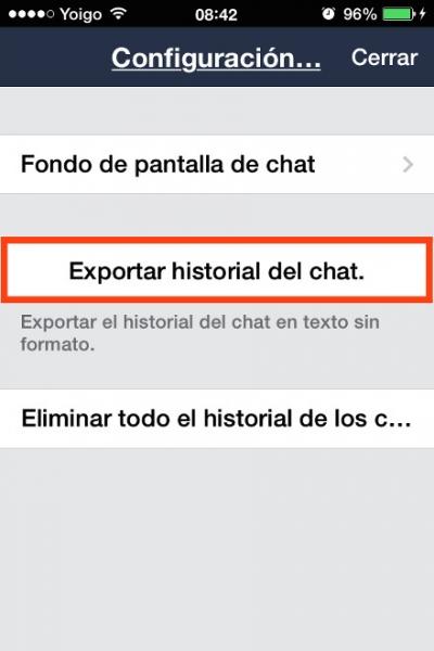 exportar historial