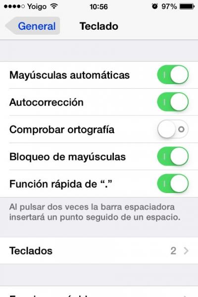 opciones teclado
