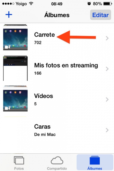 video en el carrete iphone