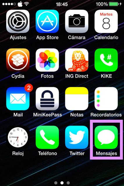 Abrir app mensajes