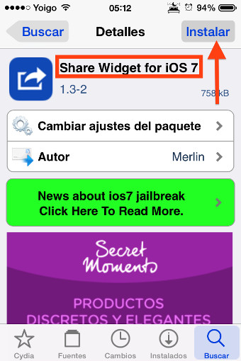 1instala share widget for iOS 7