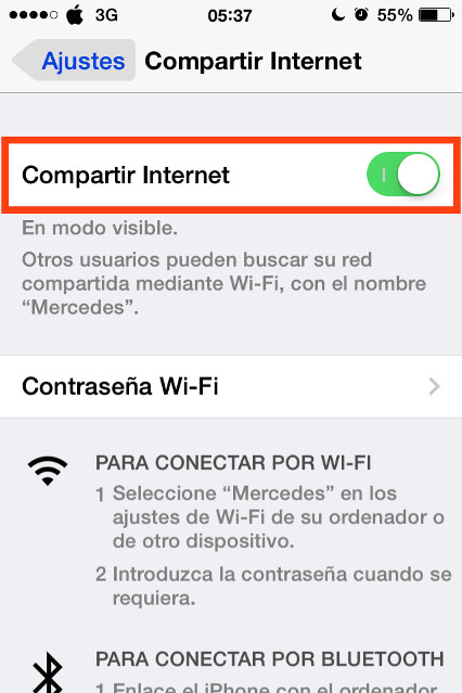 como conectarse a internet por usb iphone