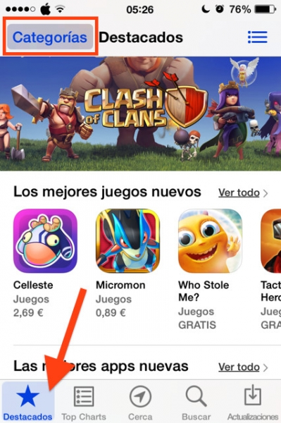 5categorias app store iphone