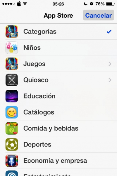 6listado categorias app store iPhone