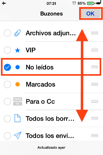 opción no leidos mail iphone