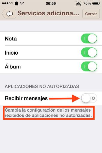4desmarca recibir mensajes