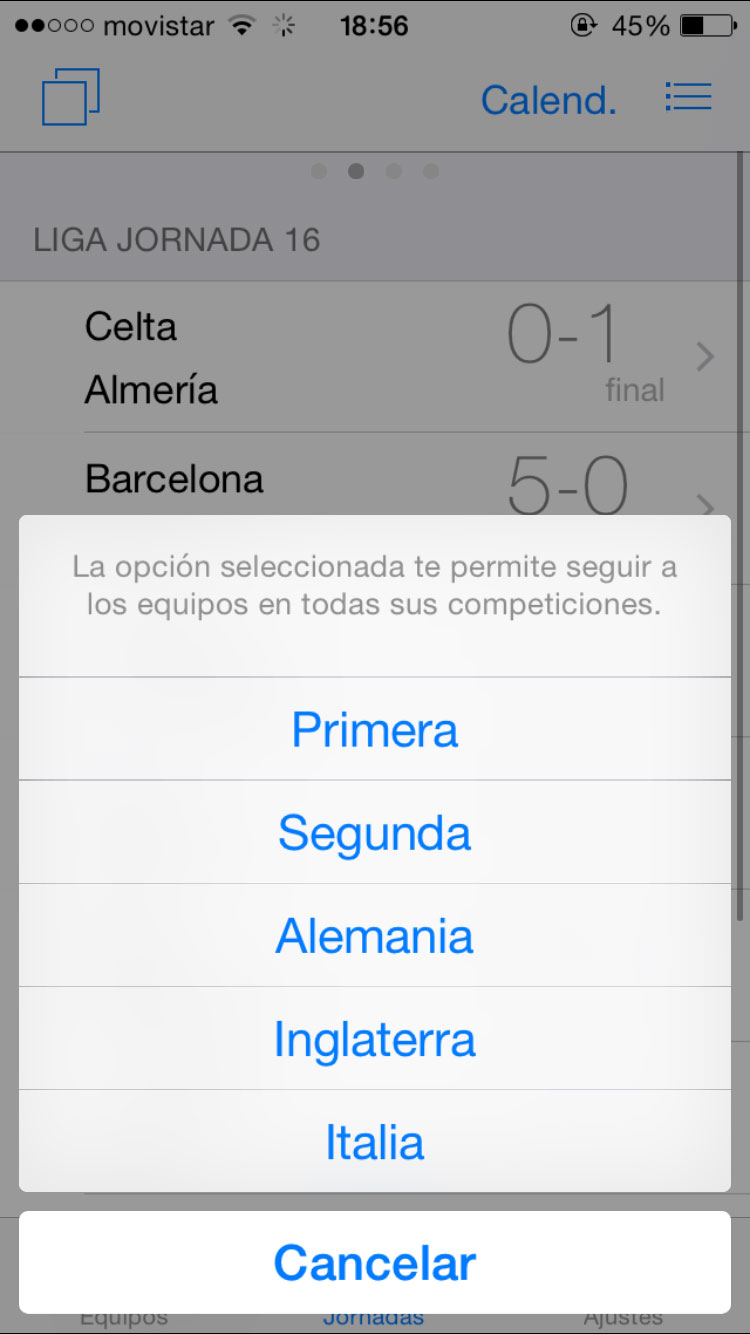 Resultados futbol iPhone