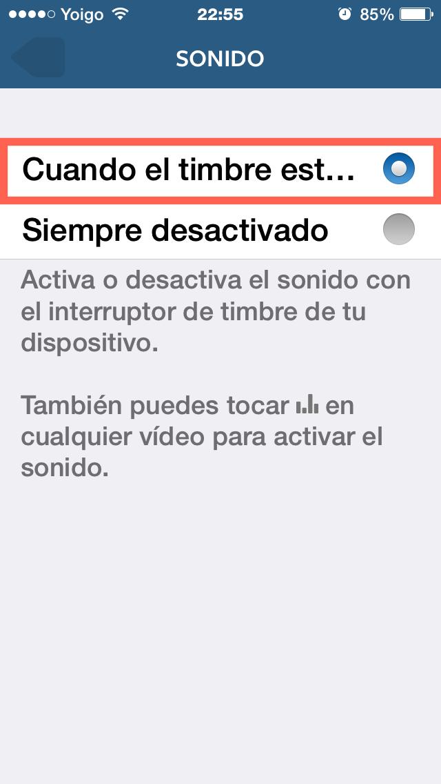 Activa el sonido de los vídeos en Instagram desde el iPhone