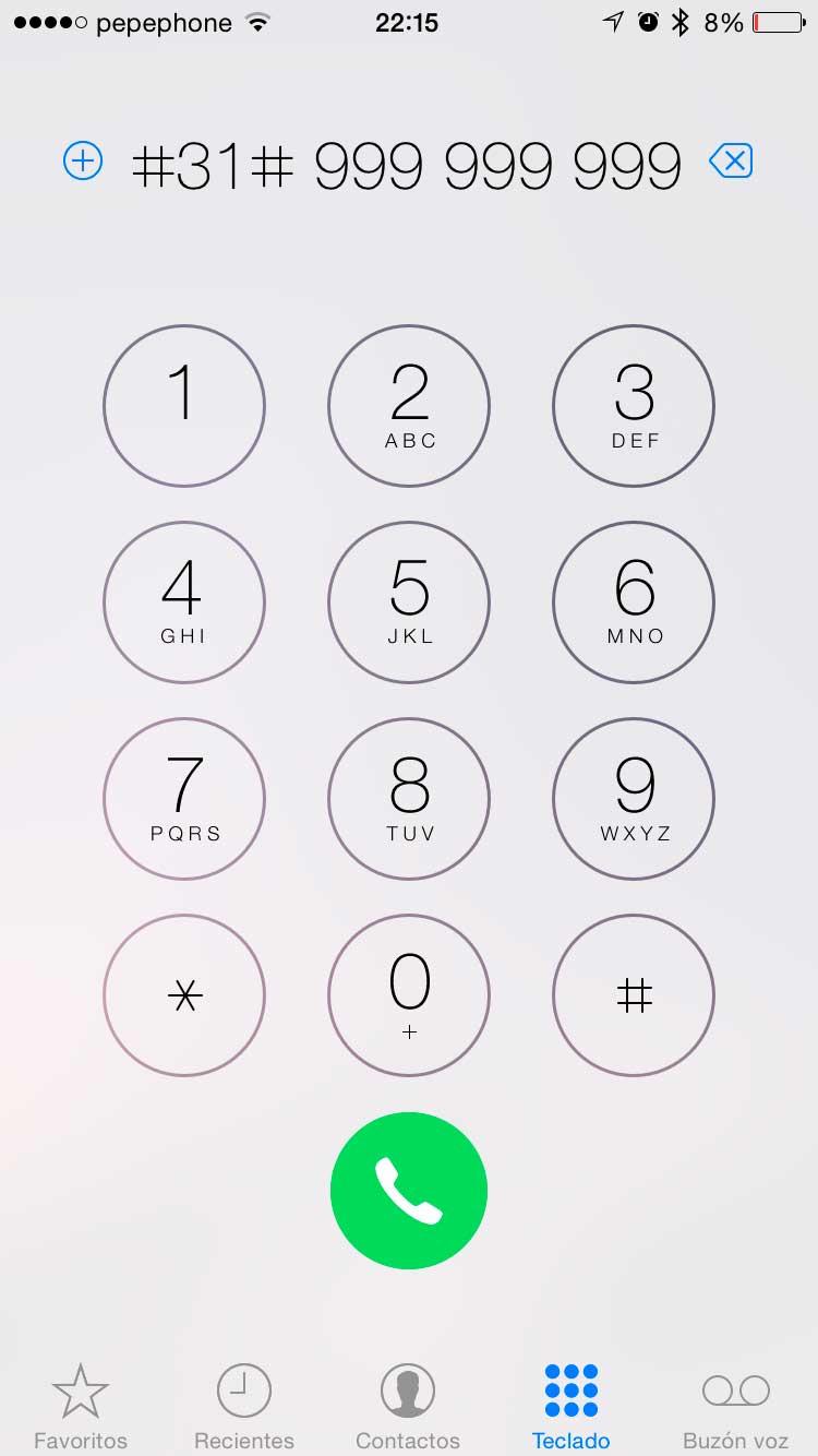 Llamar con numero oculto iphone