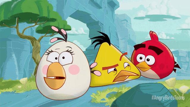Escena de los dibujos animados de Angry Birds