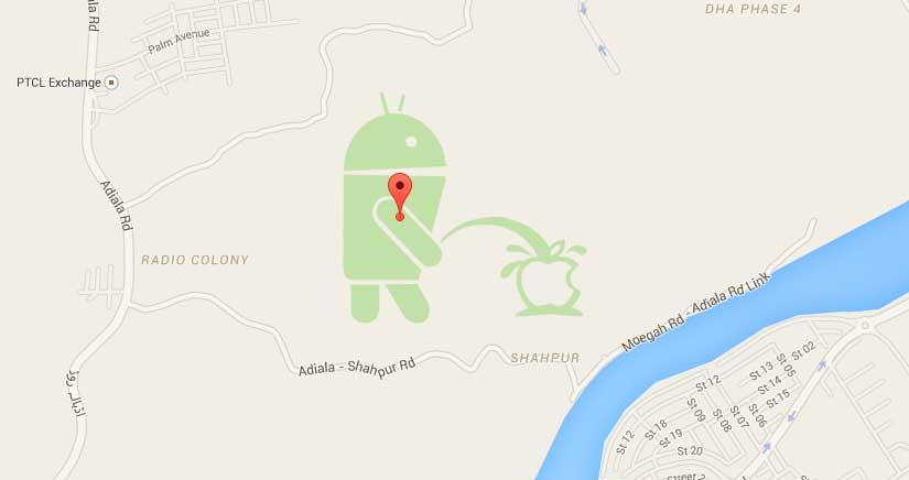 Aparece la mascota de Google meándose en el logo de Apple en Google Maps….