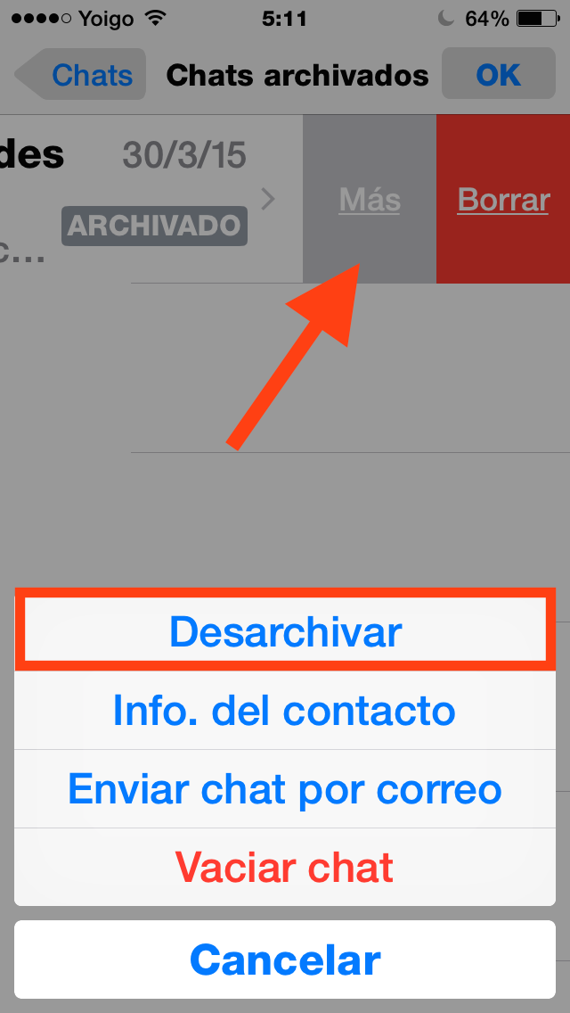 ver conversaciones archivadas de whatsapp iphone